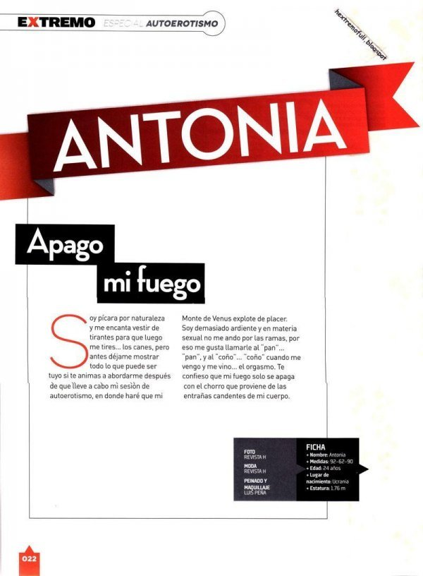 Antonia - H para Hombres Extremo Issue 32 August 2014 Mexico