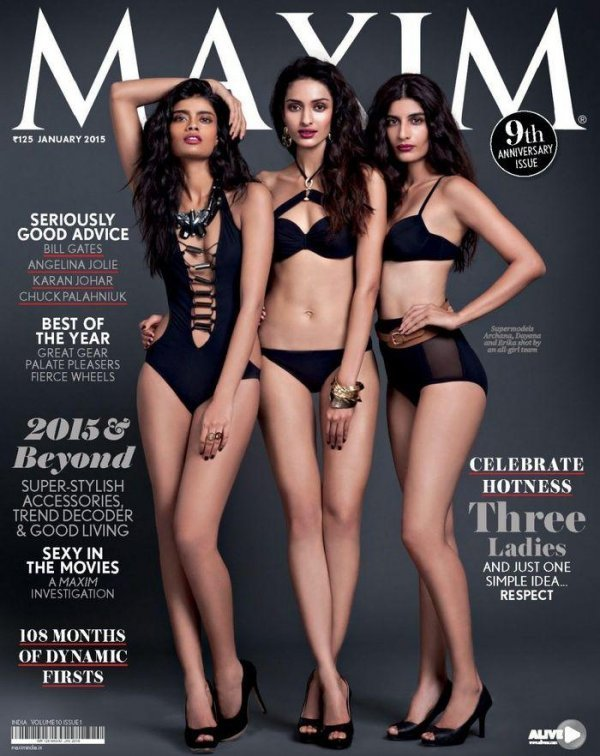 Dayana, Erika, Archana - Maxim January 2015 India
