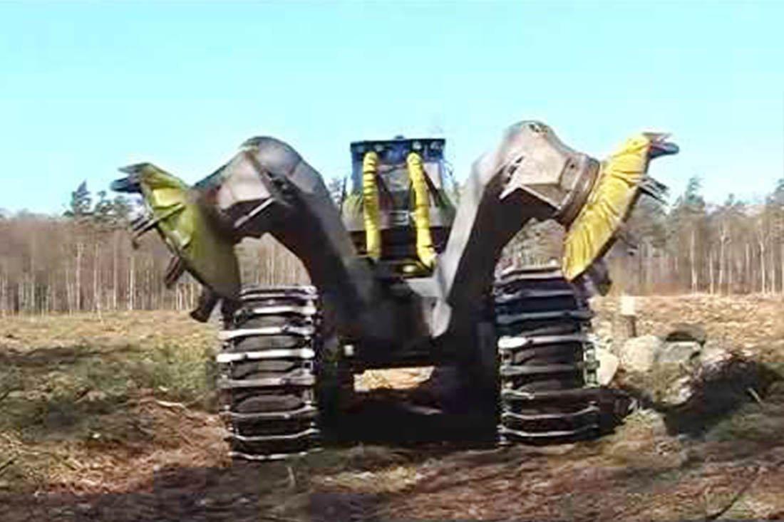 Мега машины, бульдозеры, тракторы для корчевания пней и современные мощные лесовозы.