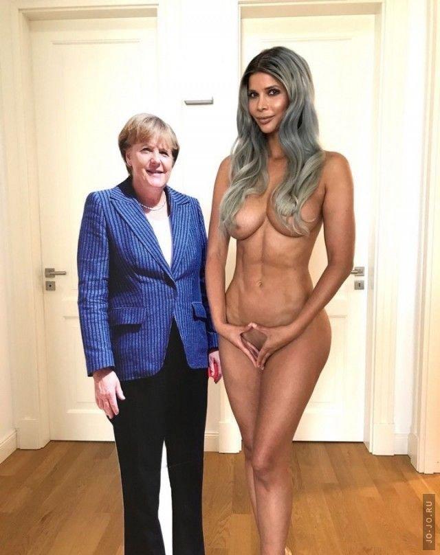 Микаела Шефер в откровенной фотосессии с фигурой Ангелы Меркель