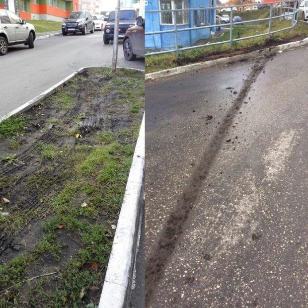 Месть за парковку на газоне (2 фото)
