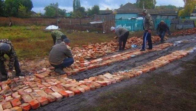 В Воронежской области сельскую дорогу вымостили кирпичом (фото)