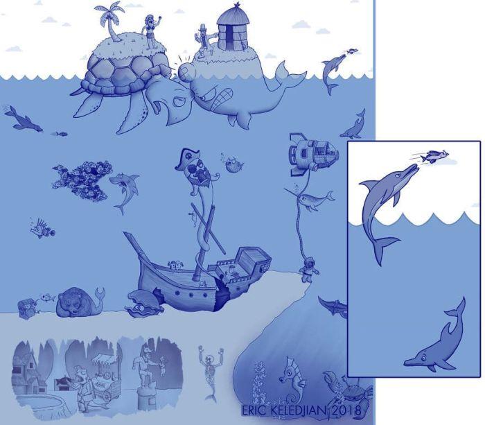 Художник 30 дней добавлял по одной детали к рисунку (30 картинок)