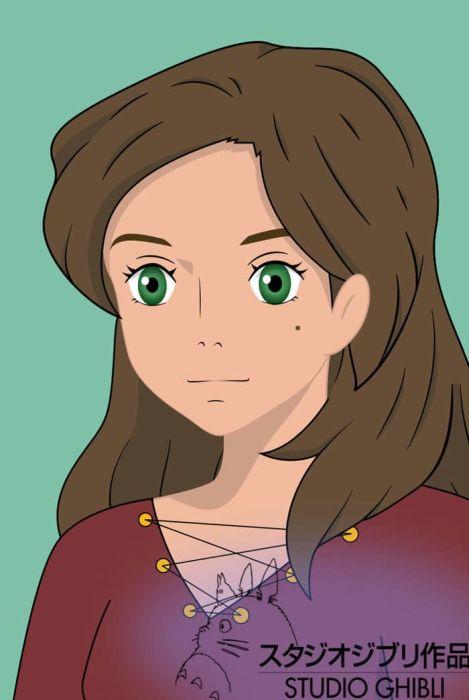 Художница изобразила себя в образе героев мультфильмов (50 рисунков)