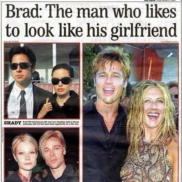 Брэд Питт - человек-хамелеон, копирующий внешность своих девушек (10 фото)