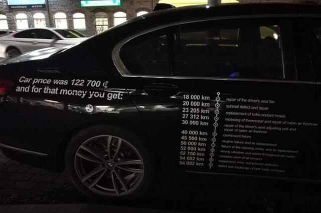 Разочарованный владелец BMW 7-й серии расписал все поломки на кузове своего авто (2 фото)