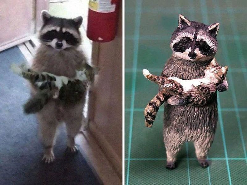 20 мемов со смешными животными превратились в скульптуры японского художника