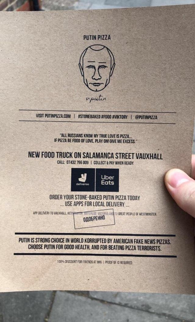 В Лондоне открылась пиццерия в честь Владимира Путина
